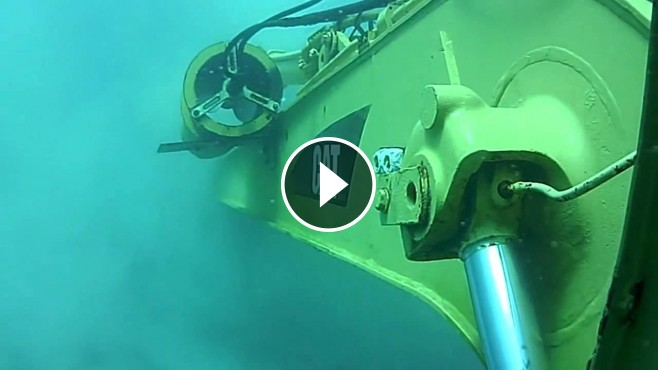 Cat Excavator Underwater Working
