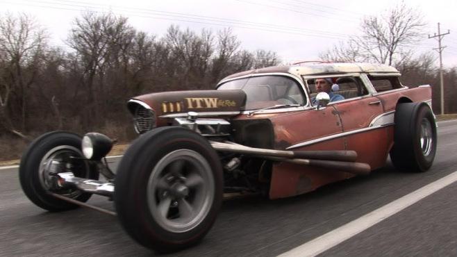 insane 57 chevy wagon rat rod
