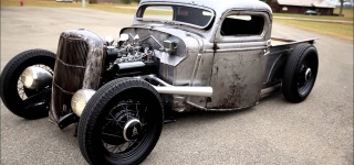 1935 Bare Metal Hotrod Ford Pickup Truck Hits the Road with Its Charm