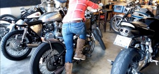 Girl Kick Starting a Harley Ironhead