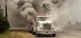 Runaway Peterbilt Truck Engine Smoking Like An Erupted Volcano