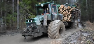 Homemade Forwarder Difficult Road