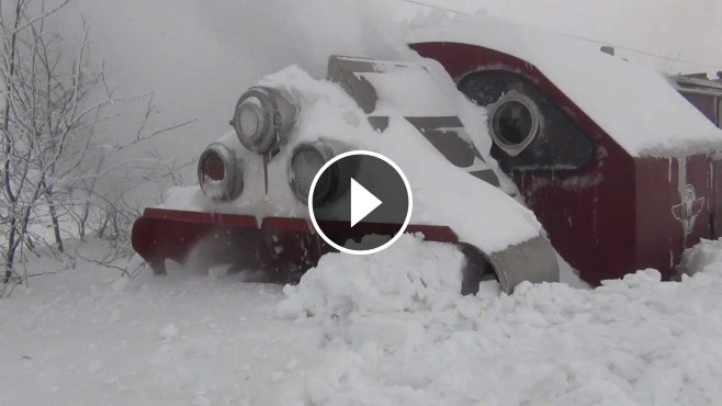 Awesome Footage Snow Blower Train In Romania