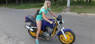 Russian Girl Testing Tuning Java Bike Like A Boss