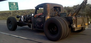 Badass Camel-Toe-ing. Rat Rod Tow Trucks Cruising On The Road