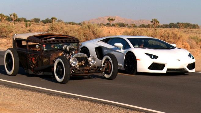 Most Reliable Truck Ever >> Rat Rod vs Lamborghini Aventador!