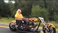 Cool Grandpa on Double Engine Harley Custom Blows Up the Road with Charisma