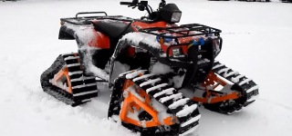 Amazing Cruise on Snow with Homemade All-Terrain Vehicle Tracks