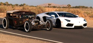Rat Rod vs Lamborghini Aventador!