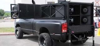 Awesome Dodge Ram Pickup Truck Equipped with Giant Speakers Only in Ukraine!!!