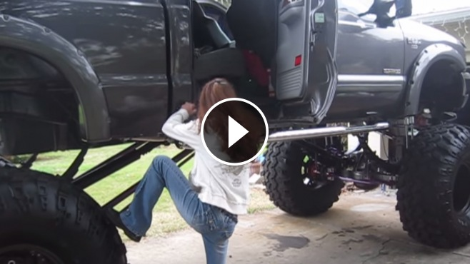 Car Lifts For Home >> Cute Girl Giving a Struggle to Climb into Giant Ford F-250