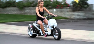 Pretty Girl's First Time Cruise on Air Ride Fatty Honda Ruckus