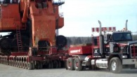 Mammoet Fort McMurray Hits the Road with a Gigantic Hitachi EX5500 Behind