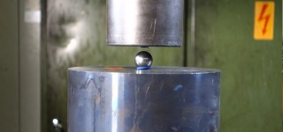 Struggle of Coins, Might Bearing Ball and Nut under Hydraulic Press