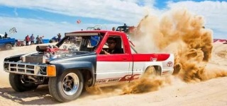 Badass Turbocharged 3RZ Motor Powered Toyota Truck Sand Drag Race