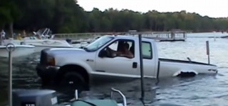 Unfortunate Man His Huge Ford F250 XL Truck and Boat Trailer at Cherry Lake