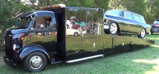 A True Classic: 1955 Model Pitch Black Chevrolet Nomad on a Classic Car Haul
