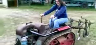 Cute Girl is Having a Barrel of Fun with Ransomes MG5 Crawler Tractor!