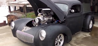 Blown 540ci Chevy Small Block Powered Perfectly Matte 1941 Pro Street Willy's Pickup Truck