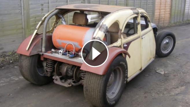 V8 Mercedes Powered 2CV is Started Up After Sitting for Over Two Years