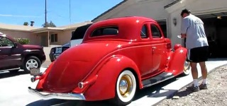 New Lucky Owner Inspects His 1936 Ford 5-Window Coupe from Lake Havasu City, Arizona