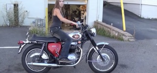 Beautiful Lady Tells About 1978 Triumph Bonneville 750 and 1969 BSA Lightning 650