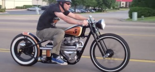 Angry Monkey Motorcycles Presents: Riding 1956 Triumph TR6 Custom Bobber Through Traffic