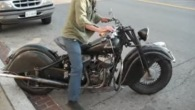 Alec Mackaye Starts Up and Rides His Cool 1947 Indian Motorcycle