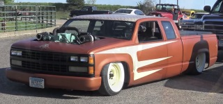 Chopped and Bagged 1989 Chevrolet Pickup with 453 Detroit Diesel Twin Turbos