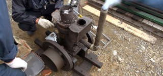 Vintage Semi-Diesel Engine of Japanese Company SATO Works Still Fully Functionally