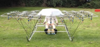 Man Creates Home-made Helicopter from 54 Drones