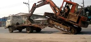 How to Load a Big Excavator On a Small Truck Like a BOSS - Thailand STYLE