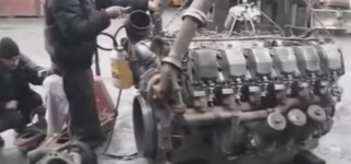 Awesome V12 Monster Diesel Engine Awake and Alive