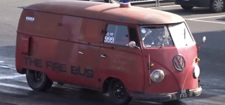 Volkswagen Fire Bus with a Beast-Like Engine Rocks the Santa Pod Raceway!