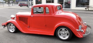 V8 Powered 1933 Plymouth Coupe with the Lipstick Red Paint!