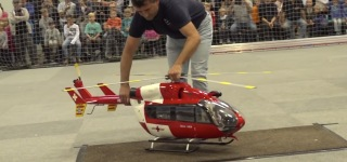 Huge R/C Turbine Helicopter's Exciting Indoor Flight is Worth to See!