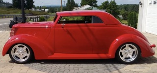 Elegance in Red: 1937 Ford Coupe with Removable Hardtop