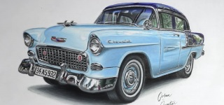 Let Dedication Come Together with Art: Talented Young Artist's Ultra-Realistic Chevrolet Belair Drawing